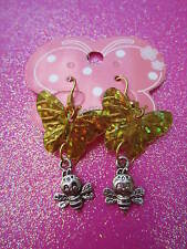 Gold Shiny Sequin Butterfly and Bee Earrings Usa