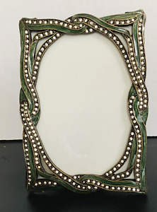 Jay Strongwater Forest Green Enamel Jeweled Tabletop Picture Frame