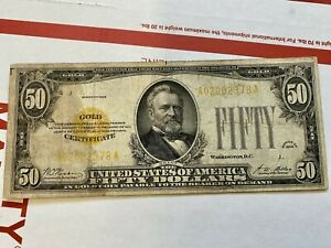 1928 $50 Gold Certificate - Federal Reserve Note - FR-2404 Gold Seal
