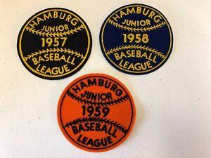 Hamburg Junior Baseball League 1957-1959 Lot of 3 Uniform Patch New Jersey