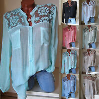 Women Lace V-Neck Casual Summer Long Sleeve T-Shirt Tunic Tops Blouse Plus Size