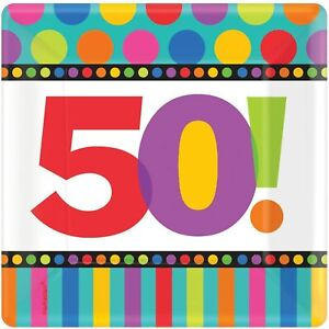 """50th Birthday Dots & Stripes Polka Over the Hill Party 7"""" Square Dessert Plates"""