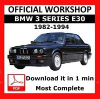 OFFICIAL WORKSHOP Manual Service Repair BMW Series 3 E30 1982 - 1994
