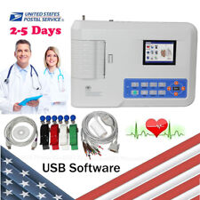 12 lead 3 channel Electrocardiograph ECG Monitor EKG Machine Printer+Software,US