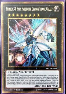 YuGiOh Number 38: Hope Harbinger Dragon Titanic Galaxy Gold Rare PGL3-EN008 1st