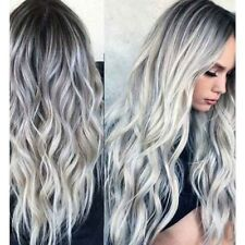 """23"""" Natural Full Wigs Hair Long Wavy Wig Synthetic Heat Resistant Ombre Silver"""