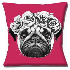 "Cute Pug Dog Cushion Cover 16""x16"" 40cm Roses Photo Black White on Magenta Pink"
