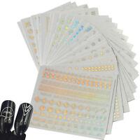 24Pcs Rainbow Color Mixed Designs 3D Nail Sticker DIY Laser Decal Manicure Decor