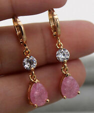 18K Gold Filled - 1.4'' Pink Cherry Stone Topaz Waterdrop Cocktail Gems Earrings