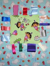 New Dora the Explorer Boots Monkey baby Taggy Taggie Toy Ribbon Sensory Blanket