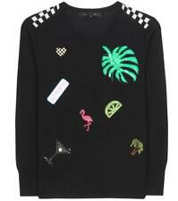 Marc Jacobs NWT Black Embellished Wool Crew Neck Sweater Size Small Retail $450