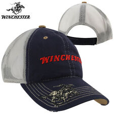 Winchester Horse Rider Distressed Meshback Cap- Navy/Putty