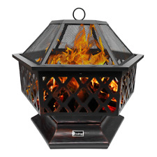 25 Inch Outdoor Patio Hexagonal Copper Wood Fire Pits with Flame-Retardant