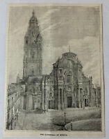 1885 magazine engraving ~ CATHEDRAL OF MURCIA Spain