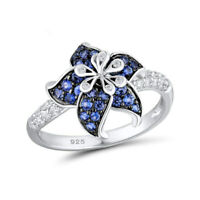 Women Fashion Flower 925 Silver White & Blue Sapphire Wedding Rings Jewelry Gift
