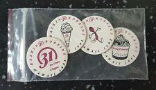 4 Vintage 1993 Hawaii Baskin Robbins 31 Flavors Milk Caps / POG