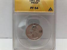 ANACS ~ Quarter ~ 1951 25c Proof  PF 64   #127