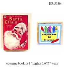 1:12 Scale SANTA Coloring Book & Crayons Dollhouse Miniature Adult Collectable