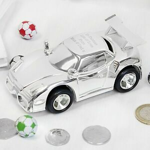 Personalised Racing Car Money Box Engraved Christening Newbaby Gift Silver Plate