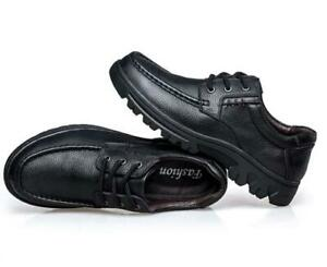 Mens Casual Comfy Round Toe Lace Up Flats Outdoor Leather Soft Driving Shoes