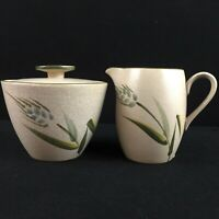 VTG Sugar Bowl and Creamer Set Sears Wild Rice Green Stoneware Wheat 4103 Japan