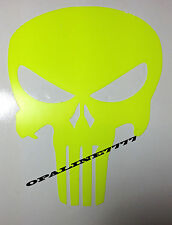STICKER AUTOCOLLANT PUNISHER FLUORESCENT FLUO SKULL TETE DE MORT CASQUE MOTO