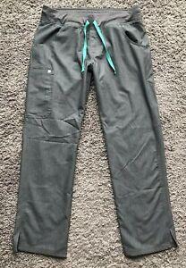 FIGS KADE Cargo Scrub Pants Nursing Gray Graphite Teal Women's Medium T21004