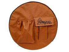 """VESPA SPARE STEPNEY WHEEL COVER 10"""" INCH WITH POCKET HANDCRAFTED LOGO TAN"""