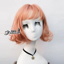 Lolita Short Mixed Orange Daily Wavy Hair Women Cosplay Wig Heat Resistant+Cap
