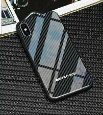 iPhone Mercedes AMG Carbon Fibre Design Tempered Phone Case Cover ALL MODELS UK