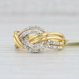 New 0.25ctw Diamond Woven Knot Ring Sterling Silver Gold Vermeil