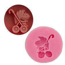 Baby Pushchair Stroller Baking Mould mold Fondant Icing Cake Cupcake Topper M4