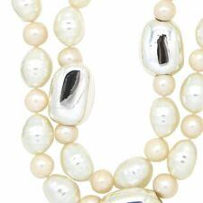 Simon Sebbag 2 Strand Shell & Freshwater Pearl Sterling Silver Necklace NB224SSP