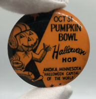 Pumpkin Bowl 1950s Button Pin Anoka Minnesota Halloween Football Vintage Hop