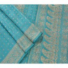 Sanskriti Vintage Heavy Saree Woven Saree Pure Satin Silk Fabric Brocade Blue
