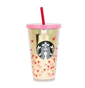 Starbucks Gold Pink Tiny Hearts Valentine Day Love Acrylic Cup Tumbler 16 oz