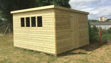 10x8ft Wooden Ultimate Tantalised Pent Shed Garden Roof 2.6ft Wide Single Door