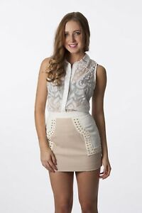 Finders Keepers Lost For Words Shirt Top in White Size Large 12 BNWT