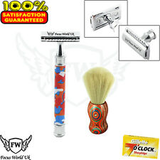 Super Badger Complete Shaving Set Safety Razor & Brush  Men Gift Kit