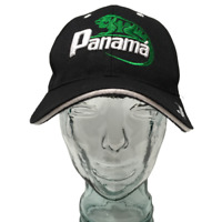 Panama Baseball Cap Hat Embroidered Lizard Black OSFM Strap Back Mega Sport