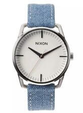 Nixon The Mellor Round Denim Strap Watch Denim Blue Men 0328