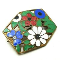 Vintage Costume Jewellery Arts & Crafts Enamel Floral Brooch