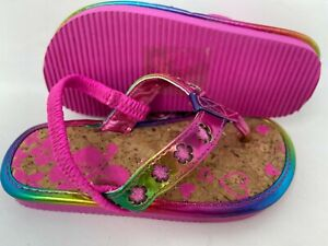 NEW! Island Club Toddler Girl's Caldi Thong Flip Flops Pink/Multi  #11510 140E r