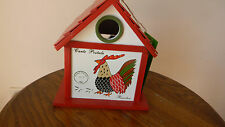 Hand Painted Audubon Society Rooster White Birdhouse Backyard-Porch-Tree Mib