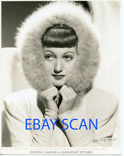 DOROTHY LAMOUR Rare Young Vintage Original Photo 1939 Double Weight Fur