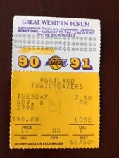 VINTAGE 1990-1991 SEASON L.A. LAKERS TICKET STUB VS. PORTLAND TRAILBLAZERS