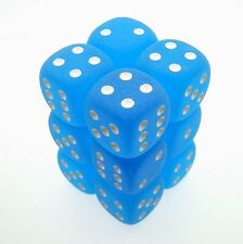Set 12 d6 Dadi Chessex FROSTED CARIBBEAN BLUE 27616 BLU CARAIBICO bianco Dice