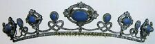 Repro Victorian Rose Cut Diamond 9.64ct Sterling Silver 925 Turquoise Look Tiara
