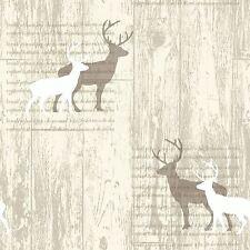 Cervo Crema Legno Cabina Carta Da Parati-Arthouse 623001-Nuova Stanza Arredamento