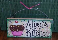 FREE PERSONALIZING KITCHEN WOOD SIGN handpainted GREEN BORDER RIBBON CUPCAKE